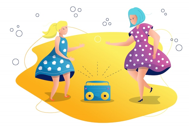Mom and daughter are dancing illustration