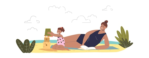 Mom and daughter on beach: mother sunbathing wearing swimsuit and little girl building sand castle. summer vacation with children concept. cartoon flat vector illustration