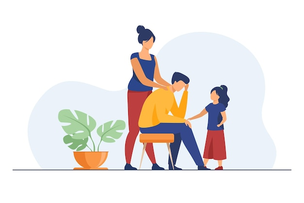 Mom and daughter comforting upset dad. touching shoulder, holding hand, giving support flat illustration