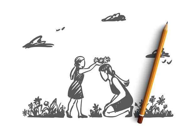 엄마, 딸, 정원, 행복, 가족 개념. 손으로 그린 된 어머니와 딸 여름 정원에서 재생. 어머니의 날 개념 스케치.