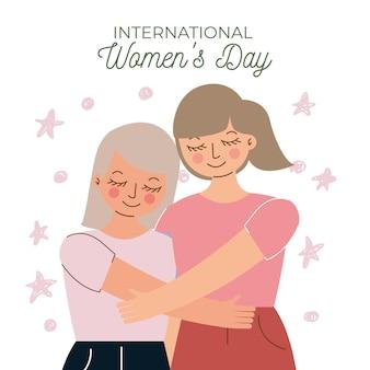 Mom and daughter hugging celebrating international women's day .  illustration