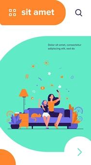 Mom and daughter leisure concept. teen girl and her mother sitting on couch at home, using smartphone for video call or taking selfie