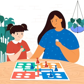 Mamma e figlia che giocano a ludo