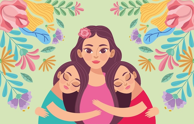 Mom and daughters illustration