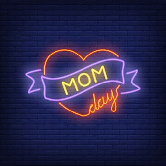 Mom day neon sign. bright red heart with ribbon. night bright advertisement.
