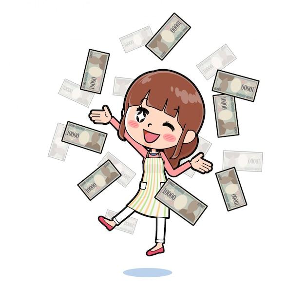 アウトラインエプロンmom_flying-money