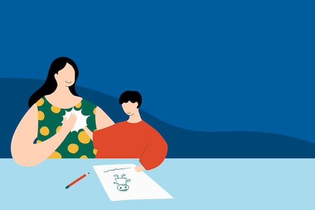 コロナウイルスのパンデミックの間にホームスクールのアートペインティングの時間で息子にハイタッチを与えるお母さん