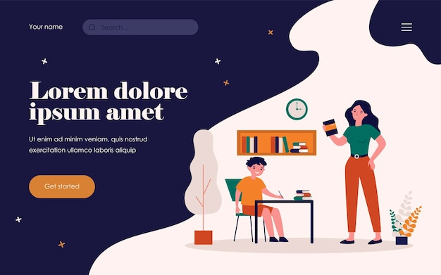 Mom helping son to do school home task. boy writing at desk, woman holding book flat vector illustration. education, knowledge, studying concept for banner, website design or landing web page