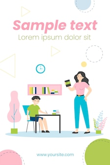 아들이 학교 가정 작업 그림을 할 수 있도록 돕는 엄마