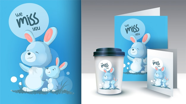 Mom and her little rabbit stand and wave their paws. cute bunnies. we miss you text. can be used for print design, baby shower celebration greeting and invitation card
