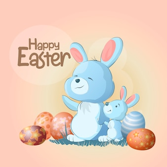 Mom and her little rabbit with easter eggs stand and wave their paws. cute bunnies. happy easter you text. can be used for print design, baby shower celebration greeting and invitation card