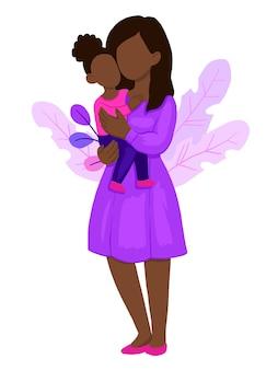 Мама обнимает своего ребенка девочка.