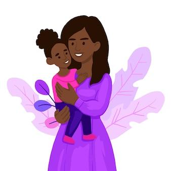 그녀의 아이 소녀를 안고있는 엄마.