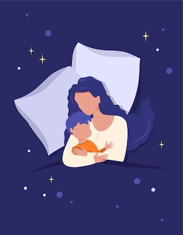 Mom hugs the child, sleeping together on a pillow covered with a blanket. motherhood