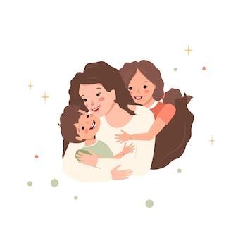 엄마는 아들과 딸을 안아줍니다 행복한 가족 엄마는 아이들을 사랑합니다 국제 출산의 날 여성의 날 육아와 돌보기