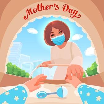 Мама в медицинской маске стоит, наклонившись к коляске и касаясь руки своего новорожденного младенца. вид от первого лица из коляски. осторожная прогулка с ребенком во время вспышки коронавируса.