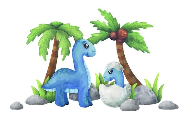 Мама - диплодок с детенышем в яйце. синие динозавры в джунглях