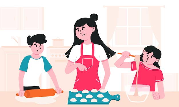 Mom and kids cooking at home together. boy rolling dough with pin, girl mixing cream in bowl and mother making buns.