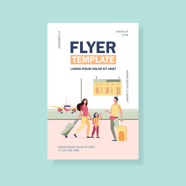 Mom and little daughter meeting with dad in airport flyer template