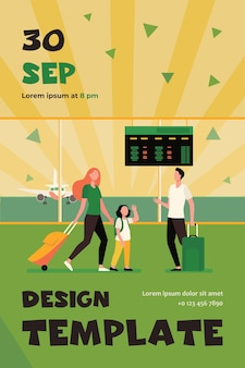Mom and little daughter meeting with dad in airport. parents and kids, luggage, airplane flat flyer template