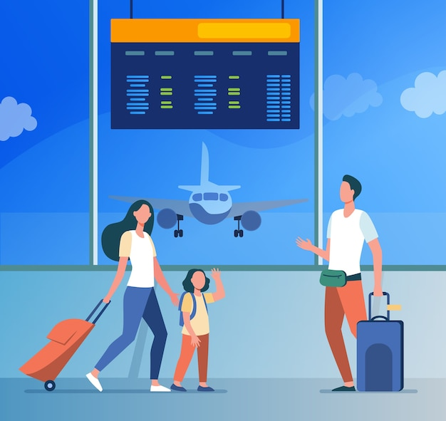 Mom and little daughter meeting with dad in airport. parents and kids, luggage, airplane flat illustration.