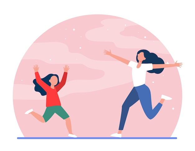 Mom and little daughter running to each other with open arms. mother, girl, kid flat vector illustration. parenthood, childhood, parenting