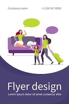 Mom and little daughter with luggage going to vacation. woman with cat staying at home flat flyer template