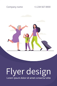 Mom and little daughter with luggage meeting with grandma. senior woman running with open arms flat flyer template