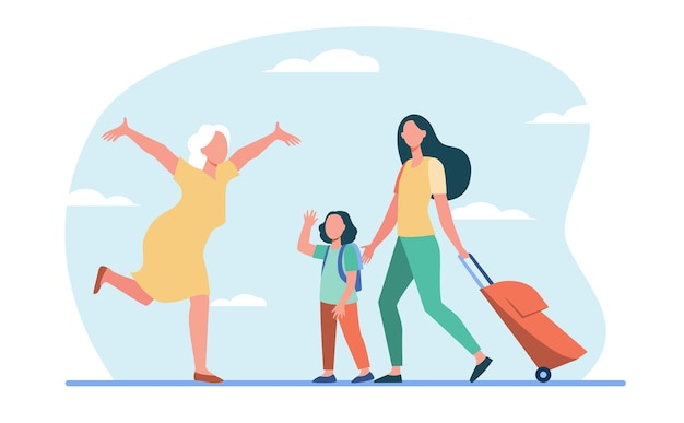 Mom and little daughter with luggage meeting with grandma. senior woman running with open arms flat illustration.
