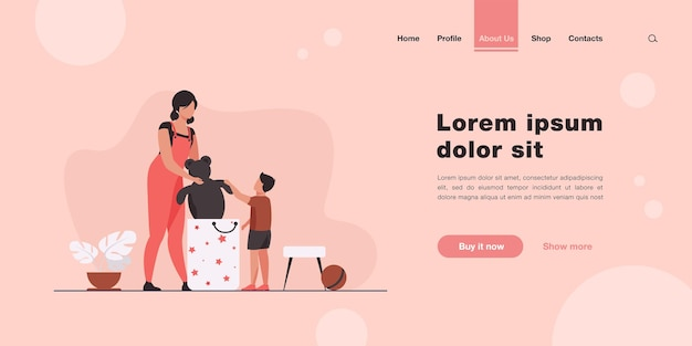 Mom and little son packing toys in bag landing page in flat style