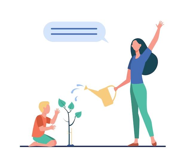 Mamma e figlio piccolo che piantano albero. illustrazione piana del germoglio di irrigazione del ragazzo e della donna