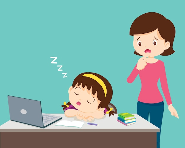 Mom looking child girl bored of studying sleeps in front of the laptop tired kid online education