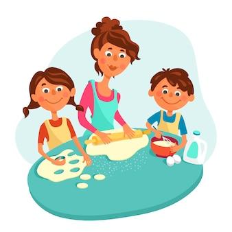 ママは子供、男の子、女の子と一緒にクッキーを作ります。子供たちは親が料理するのを手伝います。