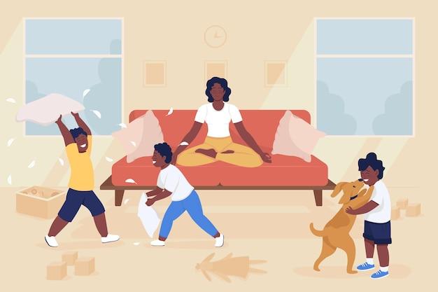 Мама медитирует среди детей плоские цветные векторные иллюстрации