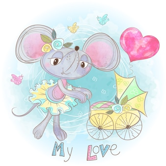 Mom mouse with a baby in a stroller. my child. baby shower.
