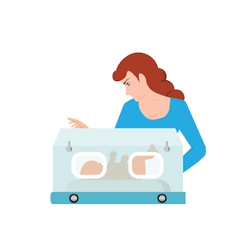 Mom or nurse look at baby in incubator, vector illustration.