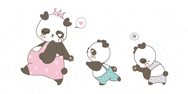 Mom panda and two kids in cute pastel clothes hand drawing doodle on white background