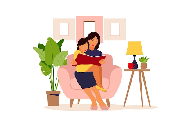 Mom reading for daughter sitting on the sofa with book. illustration of a flat design.