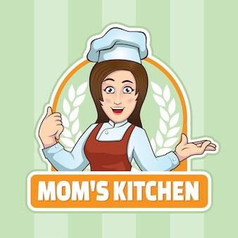 Логотип шеф-повара mom's kitchen woman chef