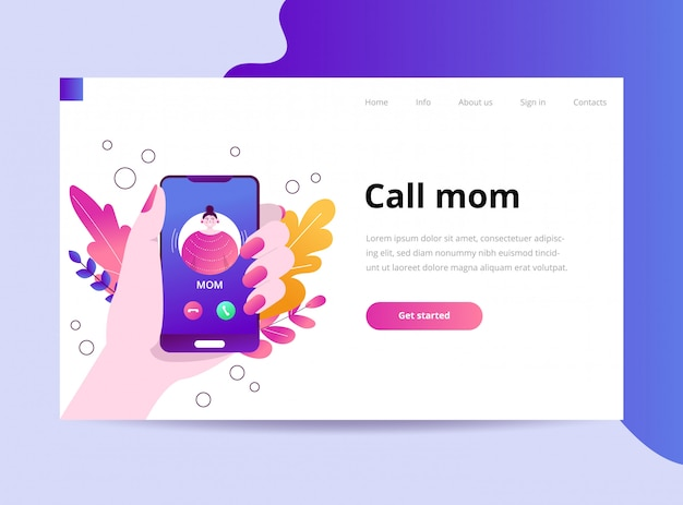Mom's on the phone landing page