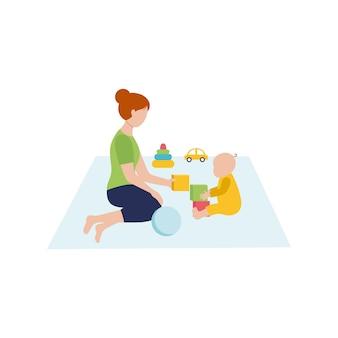 엄마는 바닥에 앉아서 아기와 놀아요. 아기와 함께하는 어린이 장난감 및 게임. 육아. 벡터 평면 문자입니다.