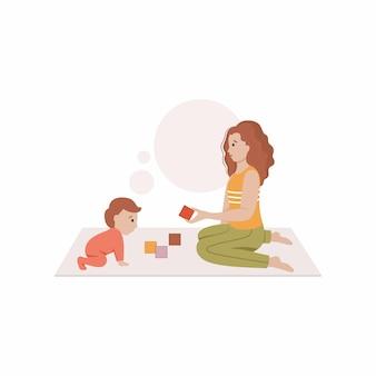 ママは床に座って、ブロックで子供と遊んでいます。フラットスタイルのベクトル図