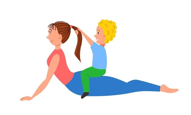 Mom and son do yoga doing the snake pose