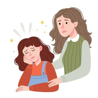 엄마는 그녀의 딸을 지원합니다. 그녀의 슬픈 어린 딸을 위로하는 사랑하는 어머니. 어린이 책에 대한 그림. 간단한 그림.