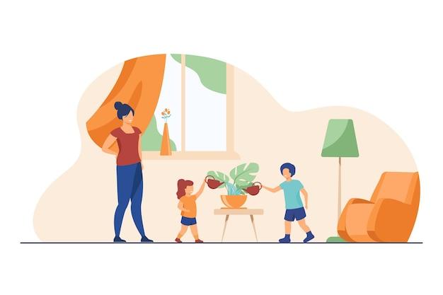 家の植物の世話をするように子供たちに教えるお母さん。家で観葉植物に水をまく子供たちフラットイラスト