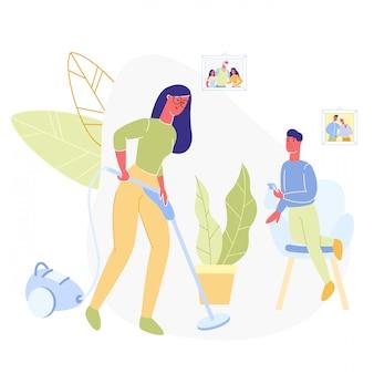 엄마 진공 청소기로 청소 집 소년 급수 꽃입니다.