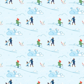 子供の冬のシームレスなパターンと歩いてママ