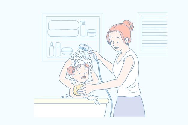 욕조, 라인 아트 스타일에서 그녀의 아들의 머리카락을 씻는 엄마