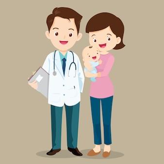 아기와 소아과 의사와 엄마
