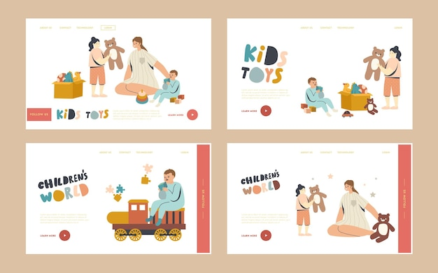 Mom with baby boy and girl landing page template set. nurse or mother female character playing with kids in playroom. children play with toys in kindergarten or home, linear people vector illustration